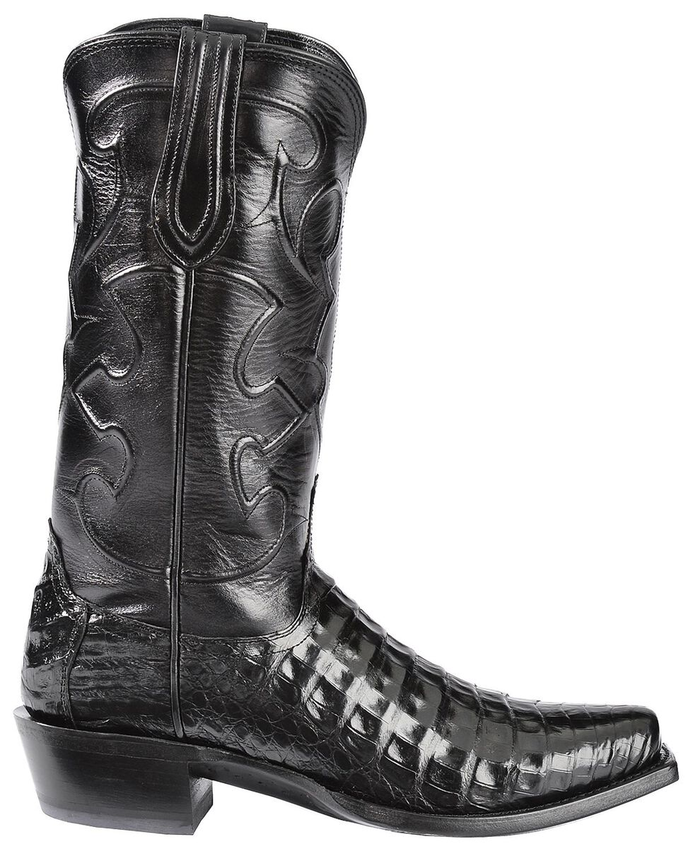 Lucchese 1883 Charles Croc Belly Cowboy Boots - Snoot Toe, Black, hi-res