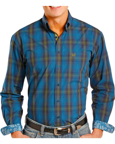 Panhandle Men's Contrast Paisley Long Sleeve Shirt, Navy, hi-res