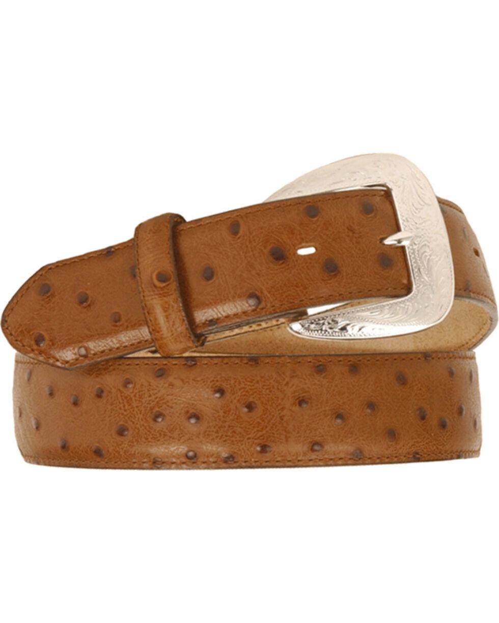 Tony Lama Ostrich Print Leather Belt - Reg & Big, Chocolate, hi-res