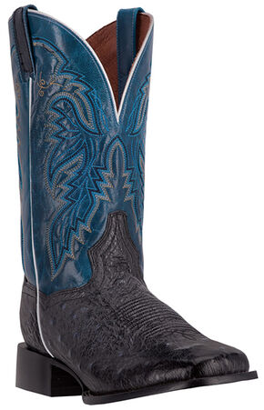 Dan Post Men's Smooth Ostrich Callahan Cowboy Boots - Broad Square Toe, Black, hi-res