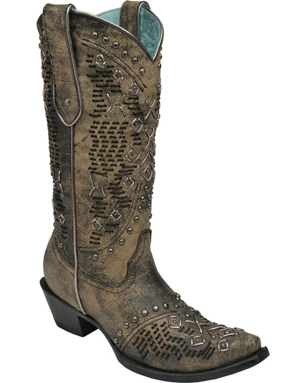 Corral Goat Woven Studded Cowgirl Boots - Snip Toe , Black, hi-res