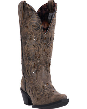 Laredo Scandalous Cowgirl Boots - Snip Toe , Black, hi-res