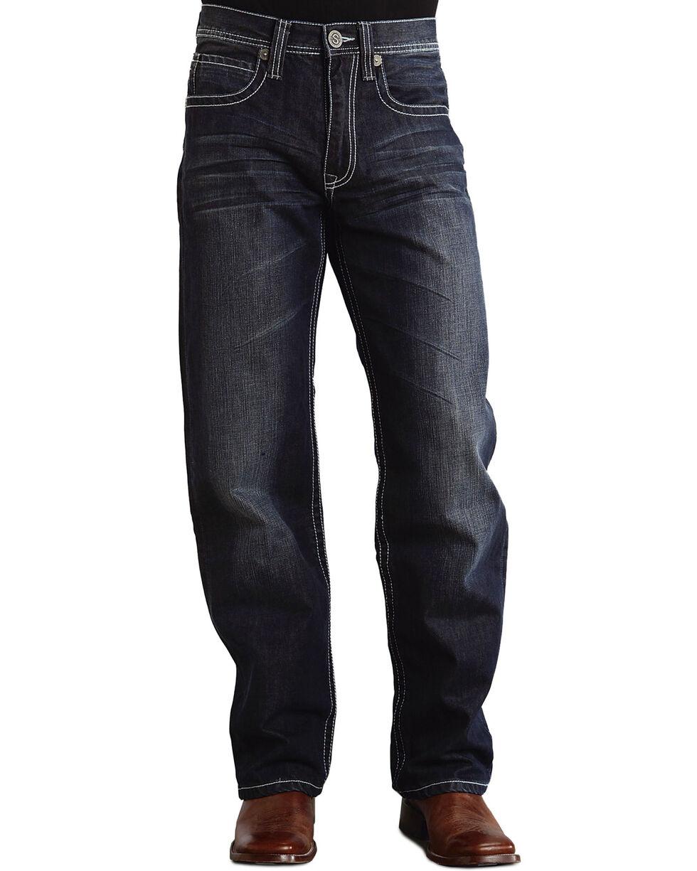 """Stetson 1520 Fit Bold """"X"""" Stitched Jeans - Big & Tall, Dark Stone, hi-res"""
