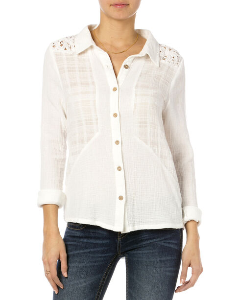 MIss Me Off-White Lace Yoke Button Down Top , Natural, hi-res