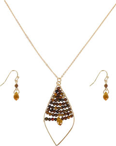 Shyanne Women's Golden Leaflet Jewelry Set , Silver, hi-res