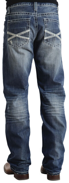 "Stetson Modern Fit Frayed ""X"" Stitched Jeans, , hi-res"