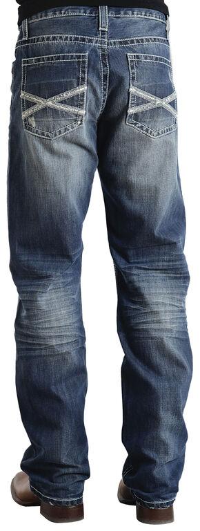 "Stetson Modern Fit Frayed ""X"" Stitched Jeans, Med Wash, hi-res"