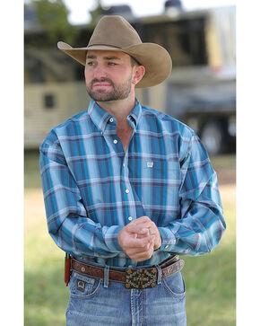 Cinch Men's Teal Plaid Plain Weave Long Sleeve Button Down Shirt, Teal, hi-res