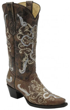 Corral Tobacco with Beige and Silver Sequence Cross Boots - Snip Toe, , hi-res
