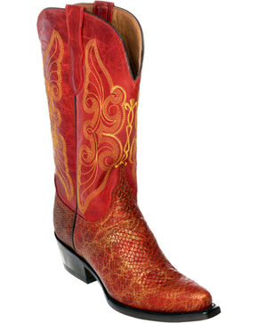Ferrini Red Snake Print Cowgirl Boots - Pointed Toe, Red, hi-res