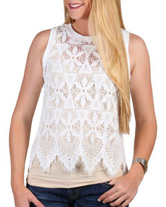 Shyanne Women's Allover Lace Tank Top, White, hi-res