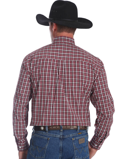 Wrangler Men's Burgundy George Strait Button Down Plaid Shirt , Burgundy, hi-res