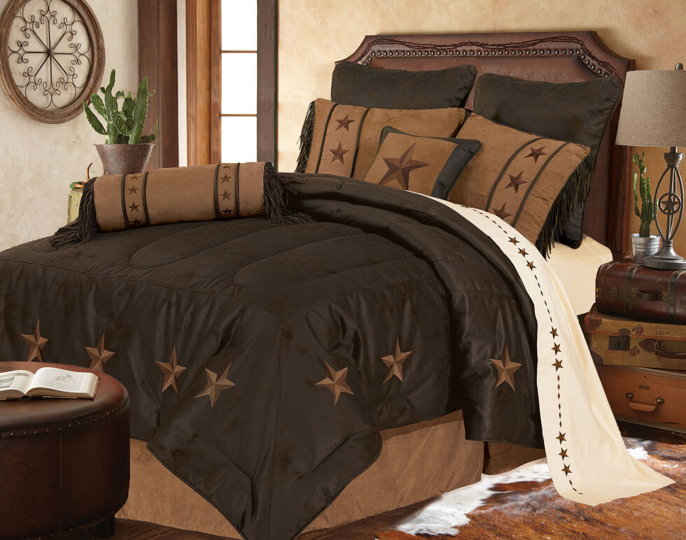 HiEnd Accents Laredo Star Embroidery Bed In A Bag Set - Queen Size, Chocolate, hi-res