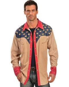 Scully Patriotic Pick Stitched Western Shirt, Tan, hi-res