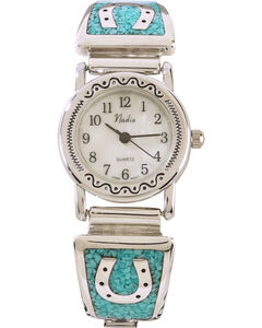 Silver Legends Women's Turquoise Horseshoe Watch , Turquoise, hi-res