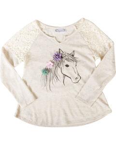 Shyanne Girls' Dream Pony Long Sleeve Shirt, Ivory, hi-res