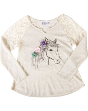 Shyanne Girls' Dream Pony Long Sleeve Shirt, Ivory, hi-res