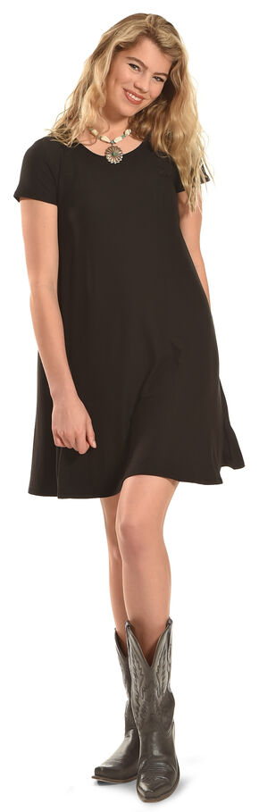 Derek Heart Women's Yara's Yummy Trapeze Black Dress - Plus Size, Black, hi-res