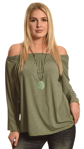 Allison Brittney Women's Green 3/4 Raglan Bell Sleeve Smocking Top , Green, hi-res