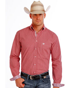 Panhandle Slim Men's Red Democracy Vintage Dobby Long Sleeve Shirt , Red, hi-res