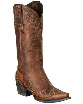 Lane Stephanie Cowgirl Boots - Snip Toe, Brown, hi-res