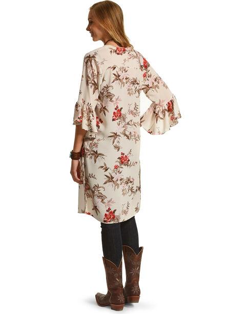 Moa Moa Women's Bell Sleeve Floral Kimono Duster, Ivory, hi-res