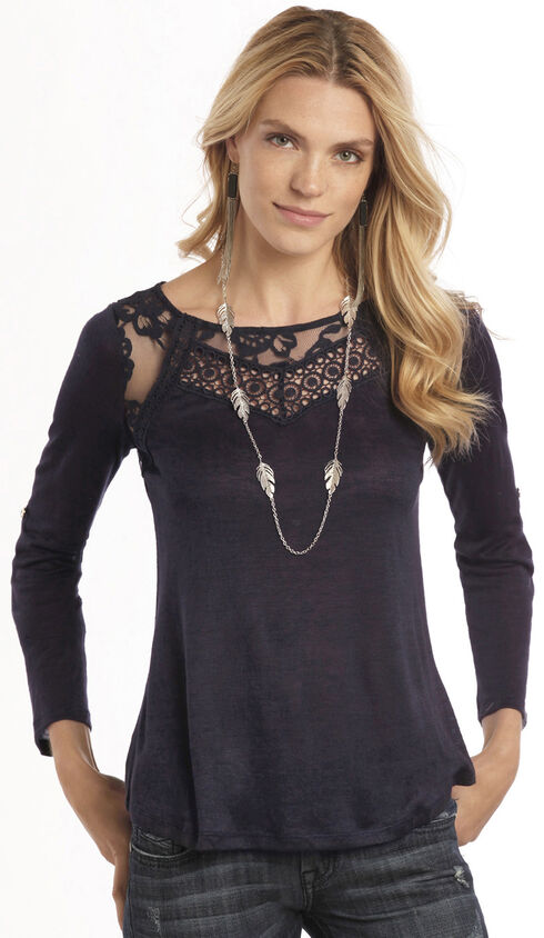 Rock & Roll Cowgirl Navy Convertible Lace Long Sleeve T-Shirt , Navy, hi-res
