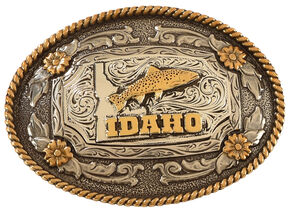Cody James Two Tone Idaho Oval Belt Buckle, Silver, hi-res