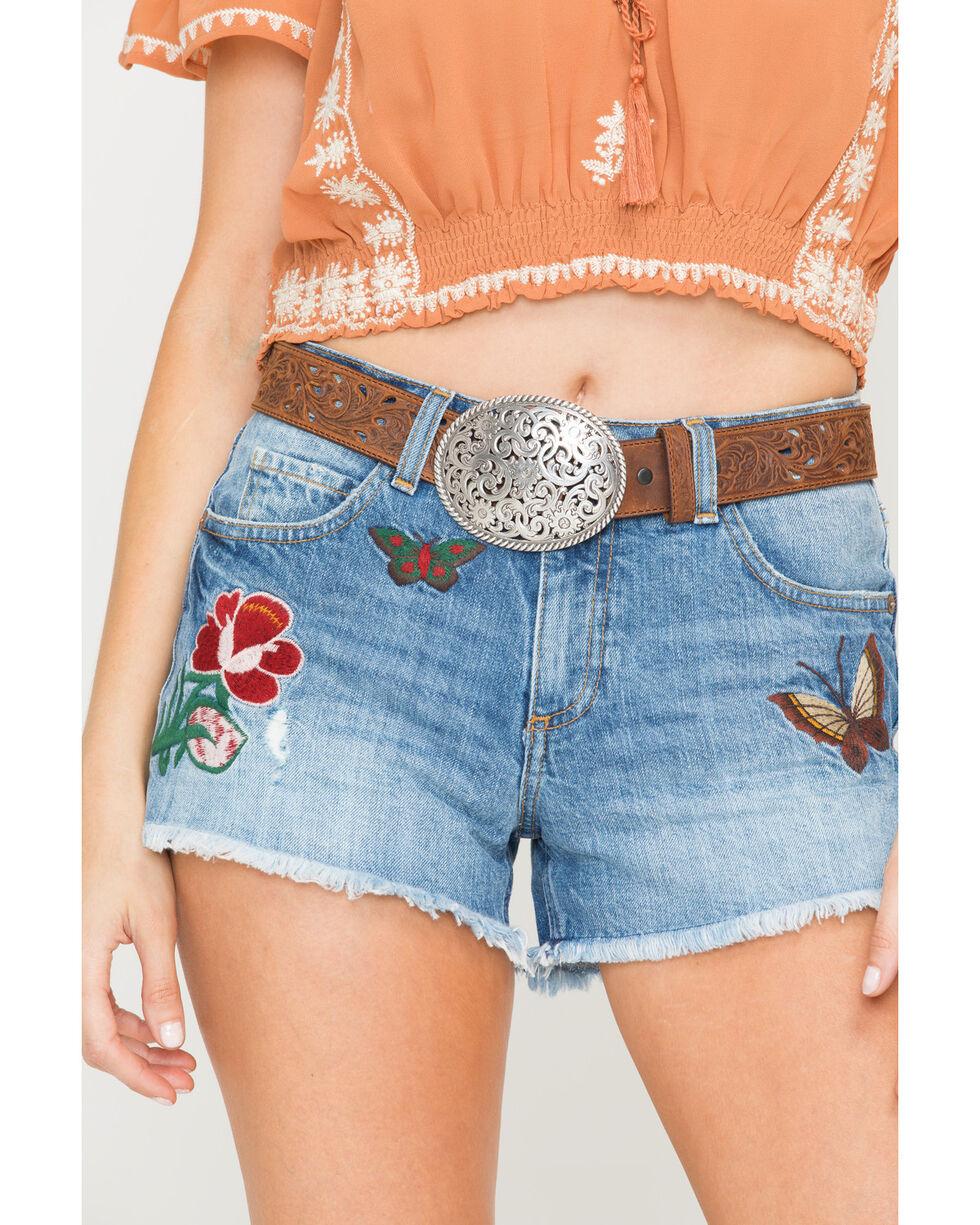 Tony Lama Floral Cutout Leather Belt, Brown, hi-res