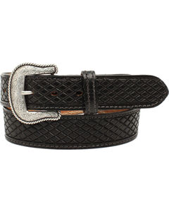 Nocona Men's Huntsville Black Crosshatch Leather Belt, Black, hi-res