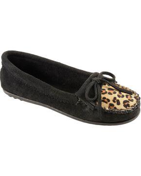 Women's Minnetonka Leopard Kilty Moccasins, Black, hi-res