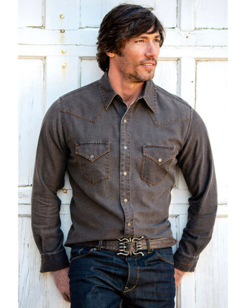 Ryan Michael Men's Distressed Waffle Shirt Buffalo, Brown, hi-res