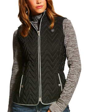 Ariat Women's Chevron Quilted Ashley Vest, Black, hi-res