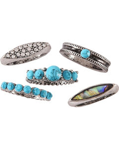 Shyanne Women's Mother of Pearl Turquoise Ring Set - Size 7, Silver, hi-res