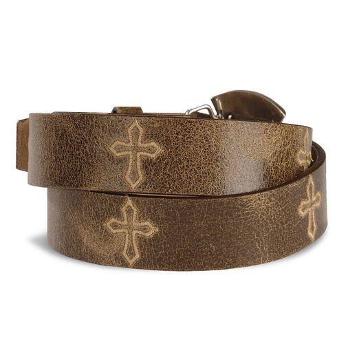 Justin Bent Rail Distressed Leather Belt, Brown, hi-res