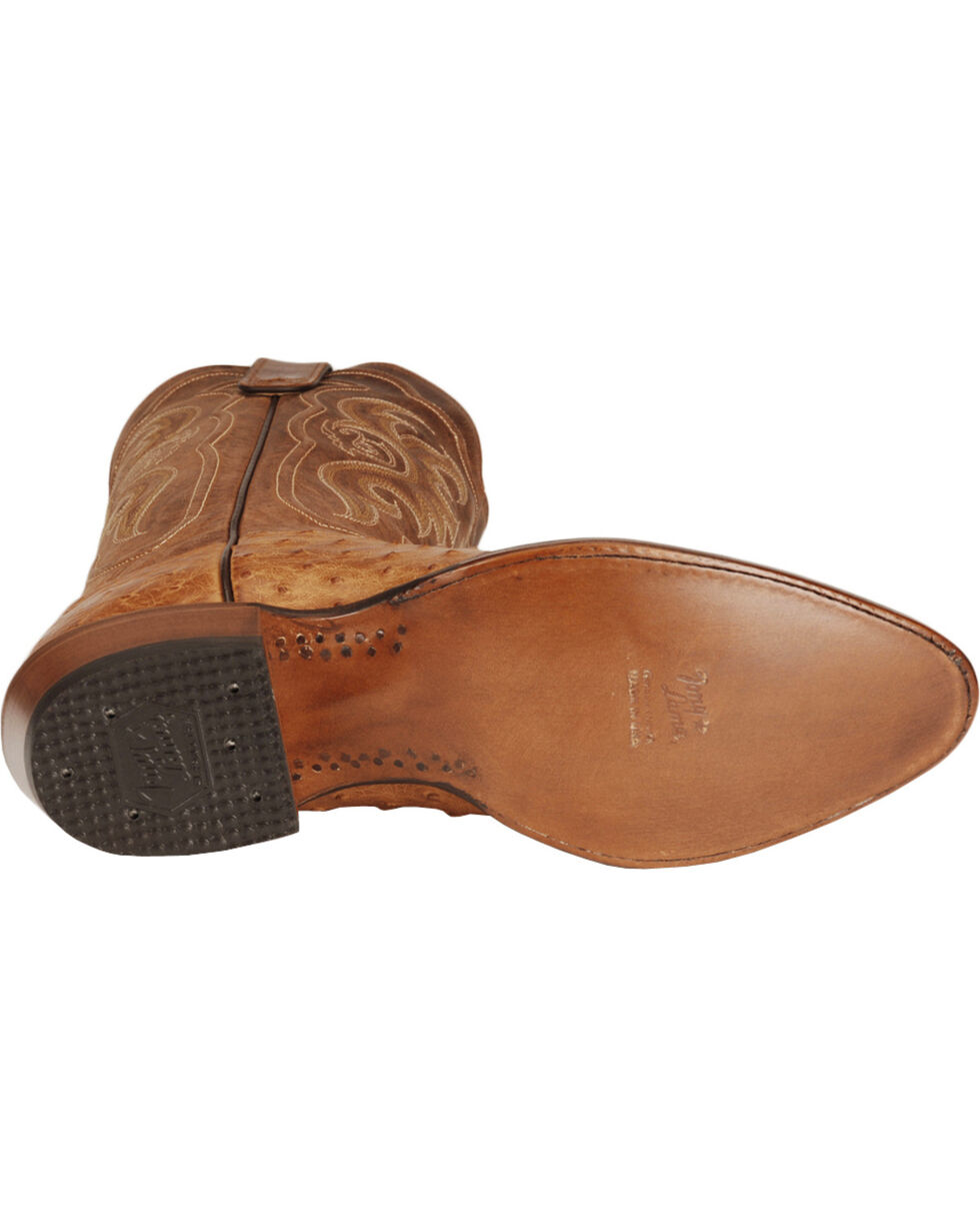 Tony Lama Men's Vintage Full Quill Ostrich Boots - Medium Toe, Cognac, hi-res