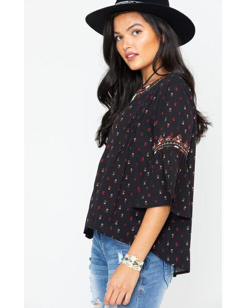 Miss Me Women's Black Bell Sleeve Blouse , Multi, hi-res