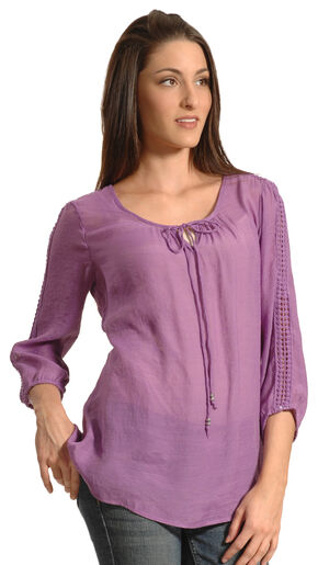 New Direction Sport Women's Crochet Sleeve Tunic, Orchid, hi-res