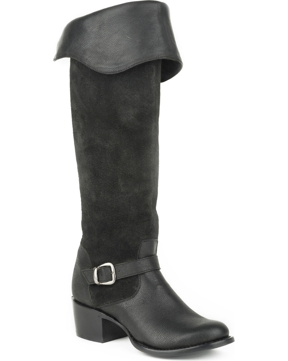 Stetson Women's Bianca Black Goat Over the Knee Riding Boots - Round Toe, , hi-res