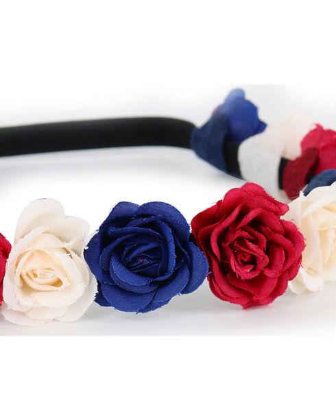 Shyanne Women's Dark Americana Flower Crown Headband , Red/white/blue, hi-res