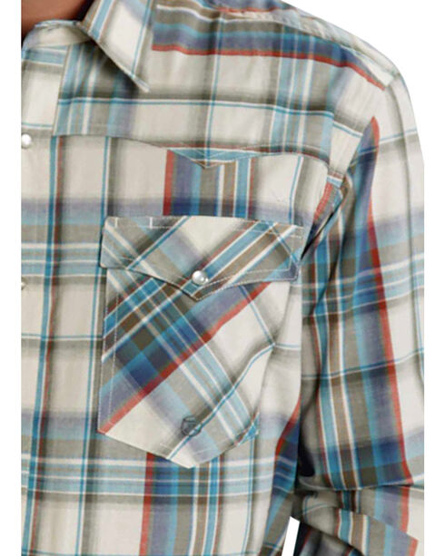 Roper Men's Amarillo Collection Green Plaid Western Shirt, Green, hi-res