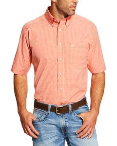 Ariat Men's Coral Elijah Short Sleeve Western Shirt - Tall , Coral, hi-res