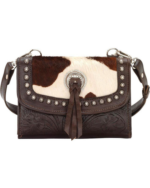 American West Women's Chocolate Texas Two Step Crossbody Bag , Chocolate, hi-res