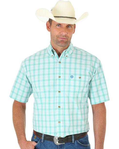 Wrangler George Strait Light Green and White Plaid Short Sleeve Shirt, Multi, hi-res