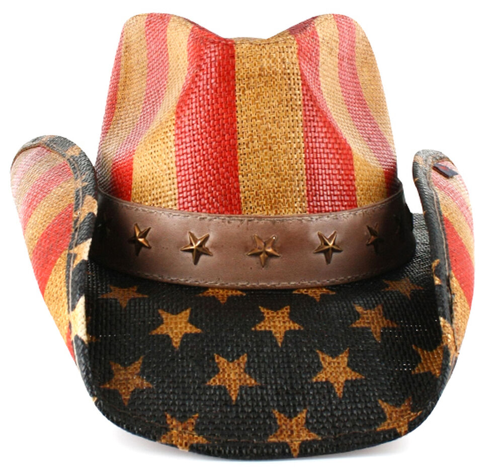 Cody James Justice American Flag Drifter Straw Cowboy Hat, Am Spirit, hi-res
