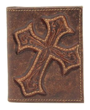 Nocona Diamond Cross Distressed Leather Bi-Fold Money Clip Wallet, Med Brown, hi-res