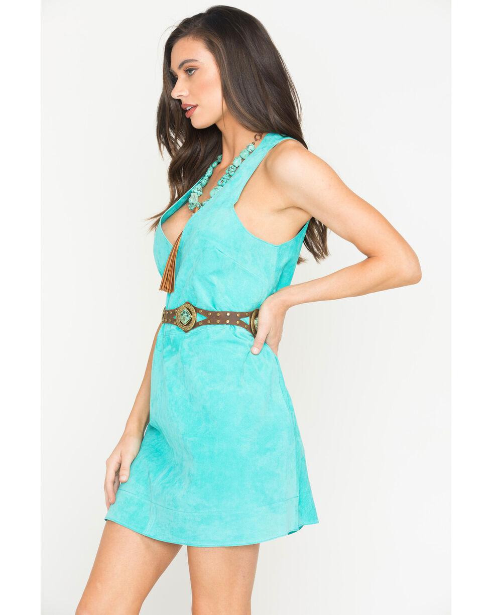 MI.OH.MI. Women's Suede Sleeveless Dress, Turquoise, hi-res