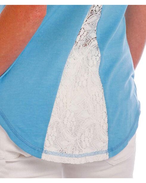 Panhandle Women's Blue Ridin' Broncos Lace Back Shirt , Blue, hi-res