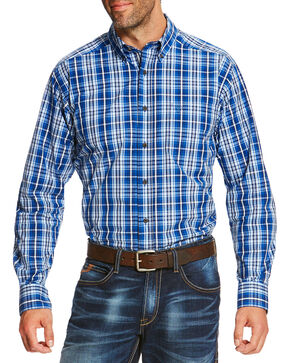 Ariat Men's Blue Reman Long Sleeve Shirt, Blue, hi-res