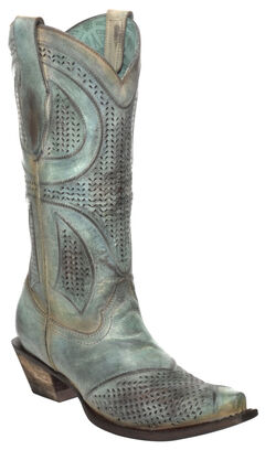 Corral Distressed Turquoise Laser-Cut Cowgirl Boots - Snip Toe, , hi-res